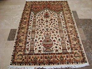 Exclusive Mehrab Floral Vaas Love Hand Knotted Area Rug Wool Silk Carpet (6 x 4)'