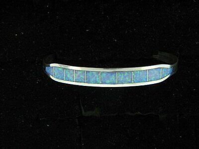 Navajo Sterling Silver Handcrafted Bracelet with Blue Created Opal Inlay Blue Created Opal Inlay Bracelet