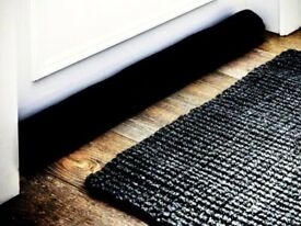 95cm Long Black Fleece Draught Excluder Sausage Roll with Gravel Weights.P&P INCLUDED!