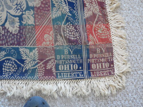 "JACQUARD COVERLET SALMON, NAVY, GREEN  SIGNED "" D.Pursell , Portsmouth , Ohio """