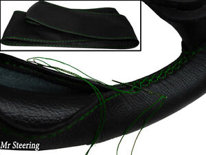 FOR-VAUXHALL-CORSA-D-MK3-06-11-ITALIAN-LEATHER-STEERING-WHEEL-COVER-GREEN-STITCH