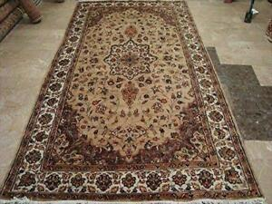 Beige Tan Floral Exclusive Rectangle Area Rug Hand Knotted Wool Silk Carpet (9.8 x 5.1)'