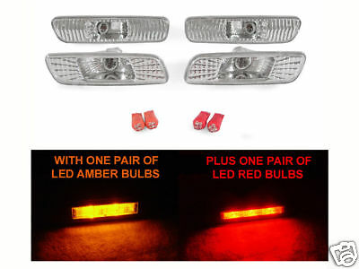 Front+Rear Clear Bumper Side Marker Lights & LED Bulbs For 2000-2005 Lexus IS300