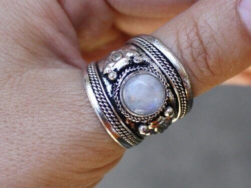 Big Adjustable Tibetan Rainbow Moonstone Gemstone Dorje Amulet Thumb Ring