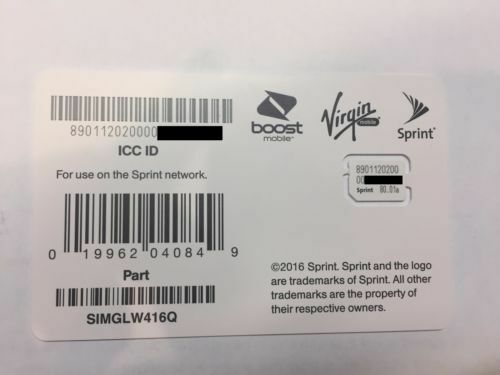Sprint/Boost/Virgin nano sim card SIMGLW416Q 80.01
