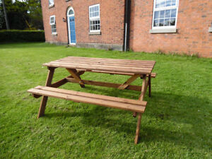 ** Wooden 5ft Picnic Table Bench Pressure Treated for Home Patio Pub ** FREE P&P