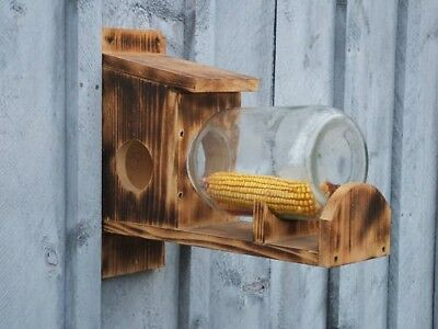 Rustic Wooden Glass Jar Squirrel Chipmunk Bird Feeder Free Shipping