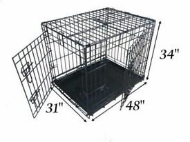 Ellie-Bo Dog Cage Folding 2 Door Cage with Non-Chew Metal Tray XXL 48-inch Black