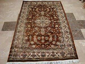 Exclusive Exotic Dark Rust Burnt Orange Rectangle Area Rug Hand Knotted Wool Silk Carpet (4 x 6)'