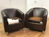 New Pair Of Luxurious Brown Leather Cow Hide Tub Chairs Man Cave Bar Bistro