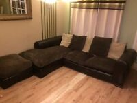 FURNITURE VILLAGE CORNER SOFA & FOOTSTOOL LEATHER & FABRIC-MUST GO - FREE DELIVERY SOME AREAS - £160