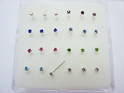24-Sterling-Silver- 8 Colour -Claw-Set- Crystal-Nose-Studs  Piercing- Boxed