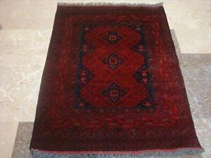 Khal Muhamadi Fine Afghan Exclusive Rectangle Area Rug Hand Knotted Wool Carpet (4.10 x 3.6)'
