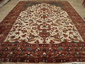Exclusive Tree of Life Bird Jungle Hand Knotted Area Rug Wool Silk Carpet (9 x 6)'
