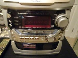 PIONEER STEREO SYSTEM WITH STAND AND SPEAKER STANDS SET