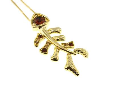 F1 Skeleton Fish Bone Crystal PENDANT NECKLACE Gold Plated comprar usado  Enviando para Brazil