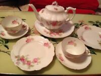 Pretty Vintage Pink Roses Tea Set - Teapot, Large Plate, Cup, Saucer & Side Plate (2)