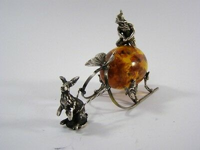 """Silver 84, Amber Russian Egg """"Art nouveau""""-Silber 84, Bernstein Ei aus Russland"""