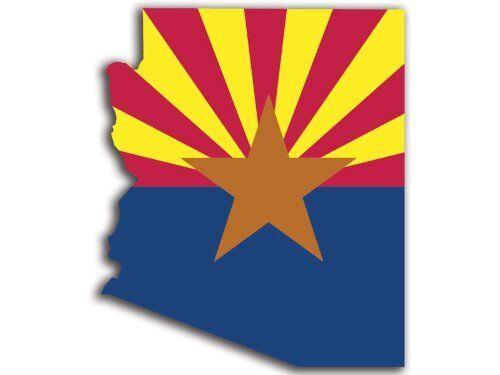 "ARIZONA SHAPED State Flag Sticker (shape phoenix car az decal)  2.5"""