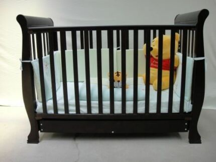 NEW Nursery Set - Baby Sleigh Wooden Cot & Change Table Drawers Kedron Brisbane North East Preview