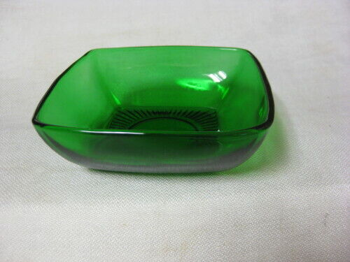 "6 Anchor Hocking Fire King Forest Green Charm 4 3/4"" Fruit Bowls Square"