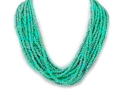 Designer-Style Multi -Strand Seed Beads Aqua Blue  Seed Beed Necklace - Beed Necklace