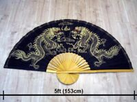 Large authentic 5ft Thai Hand Painted Silk and Bamboo Dragon Wall Fan