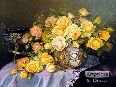 Yellow and Pink Roses - Art Print of Vintage -