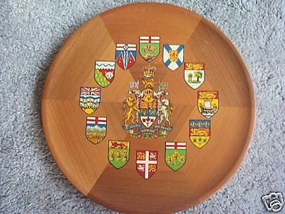 Dominion of Canada cedar tray Painted shields of Arms
