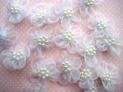 50 Organza Sheer Ribbon Wedding Flower Bow/Pearl ...