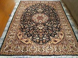 Dark Royal Green Ivory Touch Medallion Hand Knotted Area Rug Wool Silk Carpet (9 x 6)'