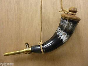 New Powder Horn Brass Spout Genuine Buffalo Rendezvous Mountain Man Reenactment