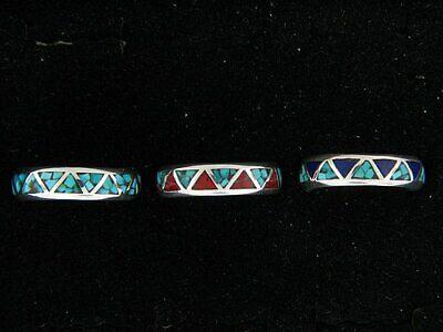 Navajo Chip Inlay Wedding Rings Turquoise with Coral or Lapis Lazuli  Lapis Lazuli Inlay Ring