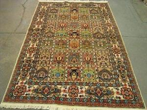 Kashan Medallion Floral Rectangle Area Rug Hand Knotted Silk Wool Carpet (7.10 x 5.3)'