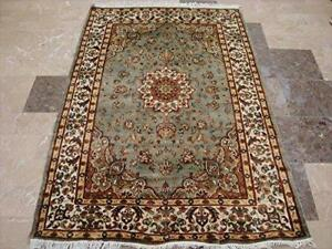 Awesome Exotic Grey Silver Floral Medallion Area Rug Hand Knotted Wool Silk Carpet (6 x 4)'