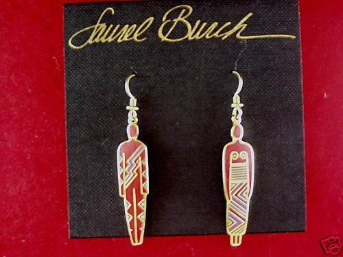 Laurel Burch Man & Woman Red gold tone Enamel French Wire Ear Signed Vintage