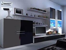 High Gloss Designer Living Room Sets - Floating Units with LED Lights - TV Shelf