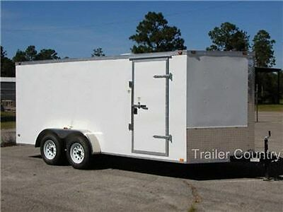 New 2019 7x16 7 X 16 V Nose Enclosed Cargo Trailer W Ramp