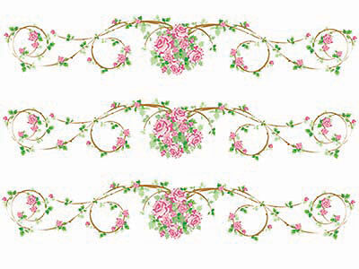 XL PinK RoSe ScRoLLY BoRDeRs ShaBby DeCALs ~FuRNiTuRe SiZe~