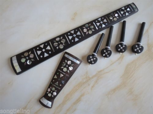 Natural Inlay Mother of Pearl ebony wood violin tailpiece / fingerboard /peg 4/4