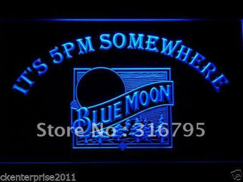 Neon Blue Moon Bar Sign