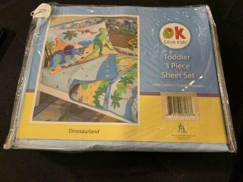 Olive Kids Dinosaur Land Toddler Bedding Sheet Set 100% Cott
