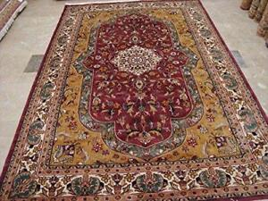 Love Medallion Floral Oriental Area Rug Hand Knotted Wool Silk Carpet (9 x 6)'