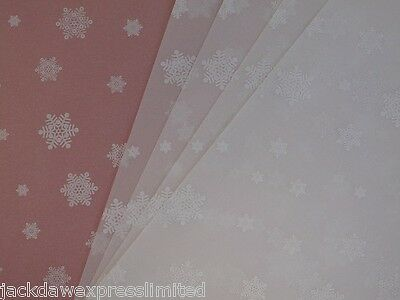 10 x A4 100gsm Printed Translucent Vellum Paper -  White Snowflakes AM519