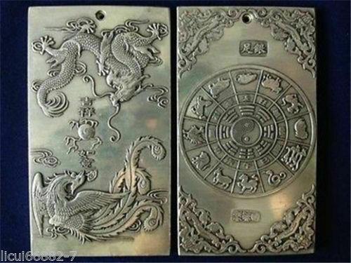 Old Chinese tibet Silver Dragon Phoenix Auspicious Bullion thanka amulet Pendant