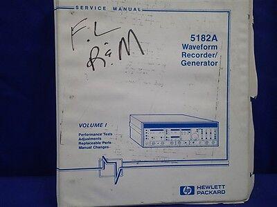 Hp 5182a Waveform Recorder Generator Service Manual Vol 1