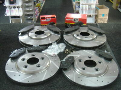 FOR JAGUAR XF 2.2D SPORT CROSS DRILLED GROOVED FRONT REAR BRAKE DISCS AND PADS