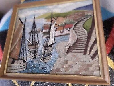 A Vintage Framed Handworked Needlework Picture Harbour Scene