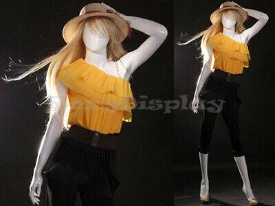 Female Fiberglass Glossy White Mannequin Egg Head Display Mz-lisa13eg