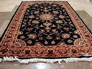 Wow Mid Night Blue Floral Medallion Rectangle Area Rug Hand Knotted Wool Silk Carpet (5 X 3)'